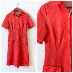 Vintage 60s Mod GoGo Red Uniform Dress Zip Up XS S